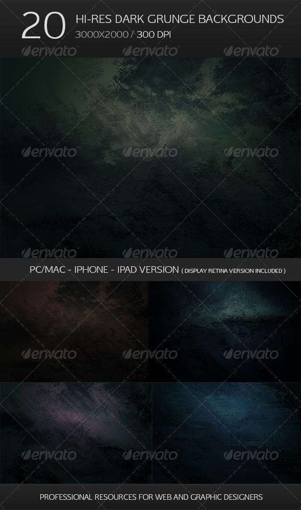20 Hi-res Dark Grunge Backgrounds - Retina Bonus - Abstract Backgrounds