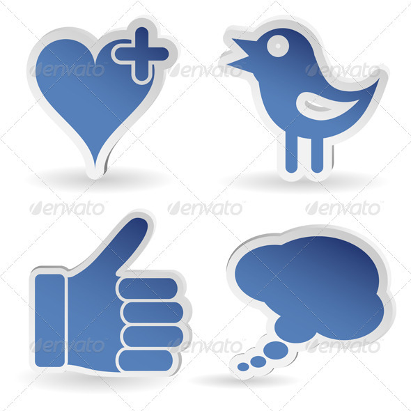 Set Social Media Sticker - Communications Technology
