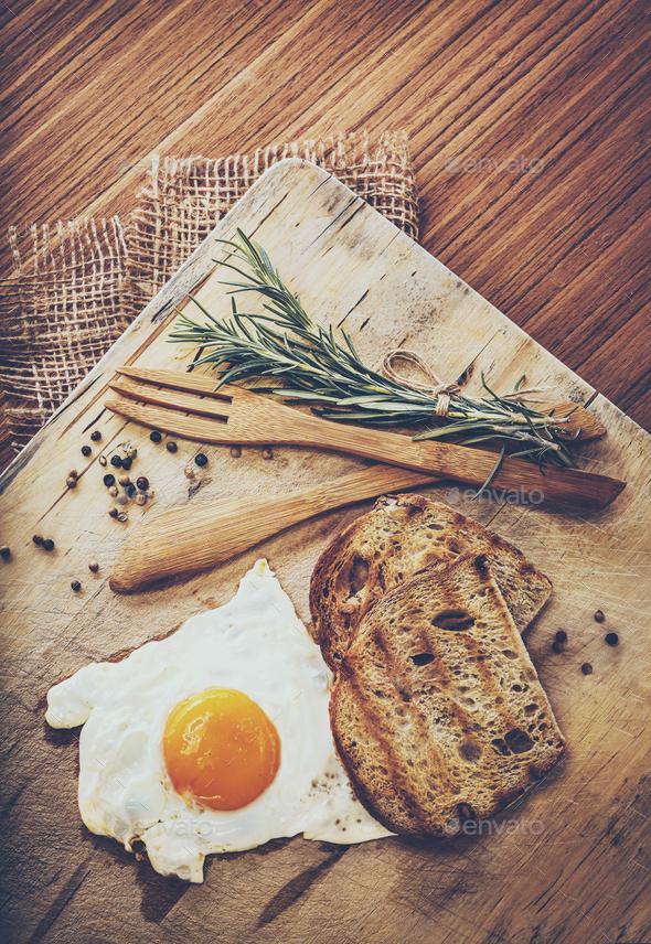 Tasty Morning Fried Egg - Stock Photo - Images