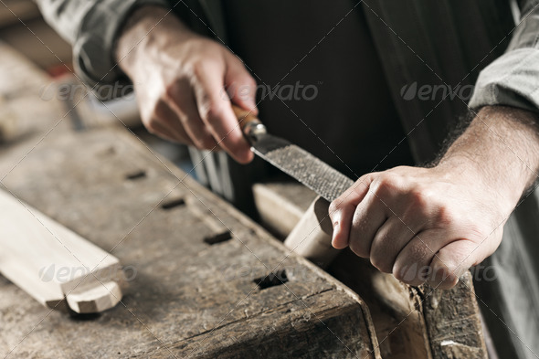 Carpenter hand's close up - Stock Photo - Images