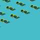 Many Plastic Sunglasses Pattern On Turquoise Blue Background With Copy Space - PhotoDune Item for Sale