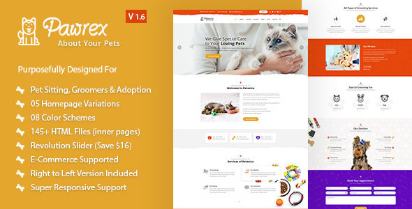 Great Pawrex: Pet Sitter, Groomer and Animal Shelter Html5 RTL Template