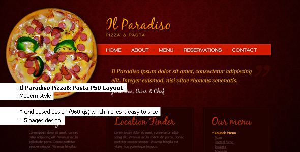 Free Download Il Paradiso, Pizza & Pasta - Restaurant PSD Layout Nulled Latest Version