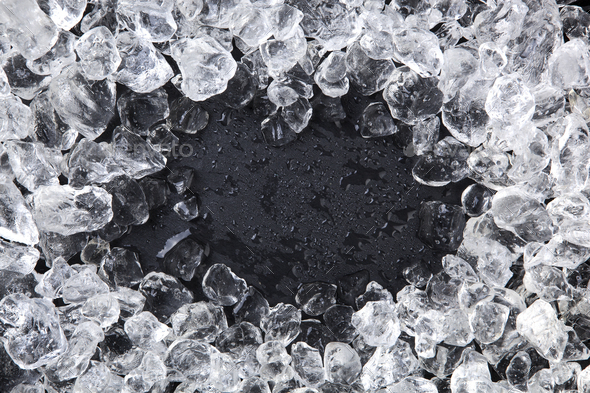 Frame of Crushed ice. Copy space, top view - Stock Photo - Images