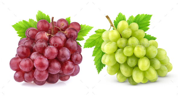 Red and green grape isolated on white background - Stock Photo - Images