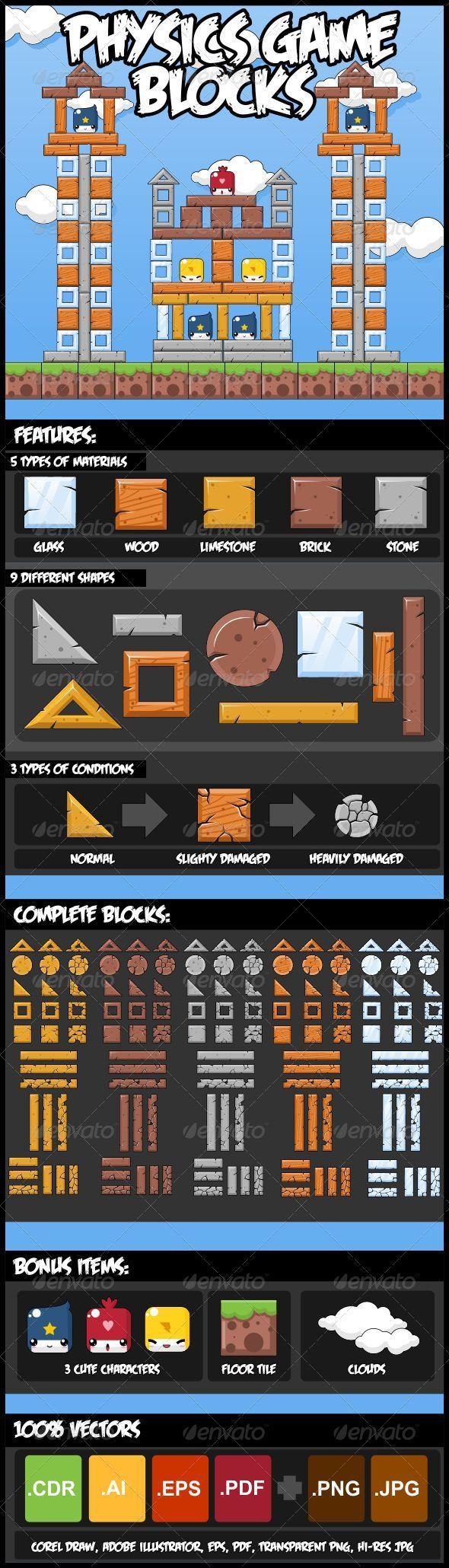 Physics Game Block Set - Sprites Game Assets