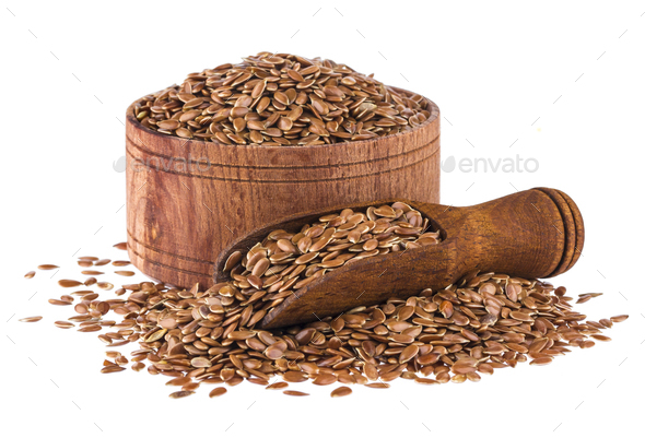 Flax seeds isolated on white background - Stock Photo - Images
