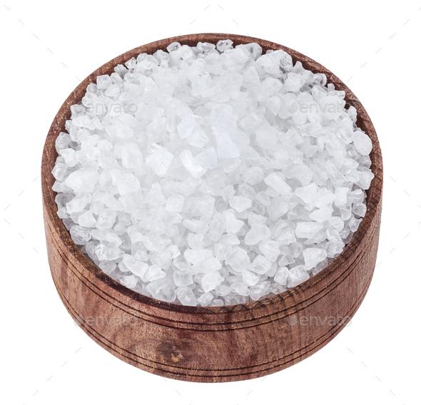 Sea salt isolated on white background - Stock Photo - Images