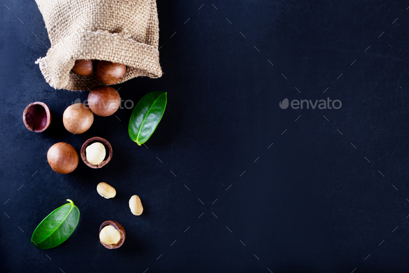 Australian macadamia nut with green leaves - Stock Photo - Images