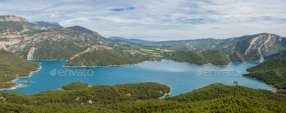 Panoramic view Canyelles reservoir, Spain - Stock Photo - Images