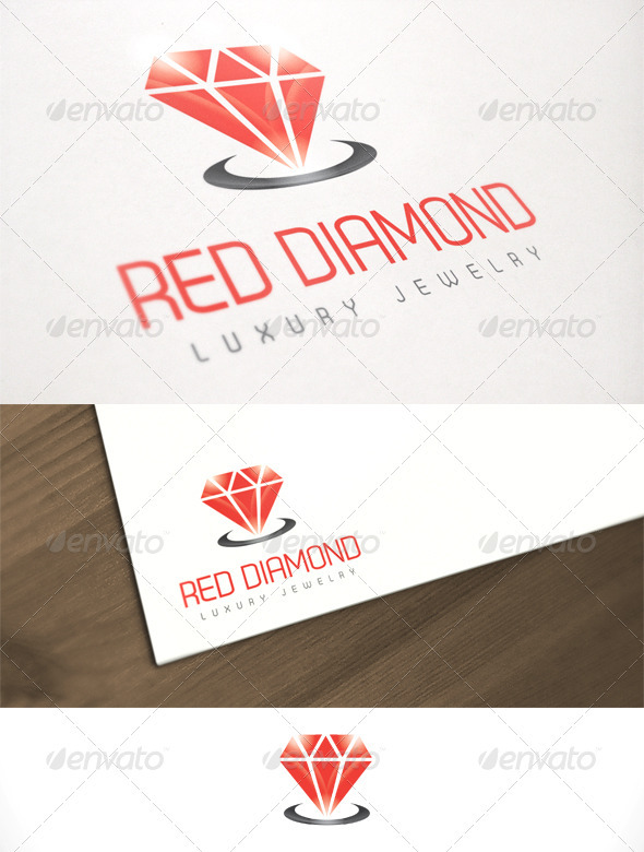 Red Diamond Luxury Jewelry Logo Template - Objects Logo Templates