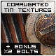 Corrugated Tin Textures + Bonus Isolated Bolts - GraphicRiver Item for Sale