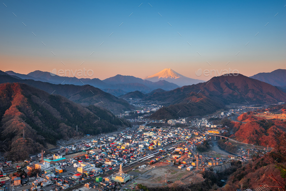 Otsuki, Japan Skyline with Mt. Fuji - Stock Photo - Images