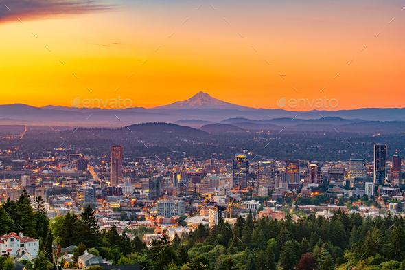 Portland, Oregon, USA downtown skyline with Mt. Hood - Stock Photo - Images