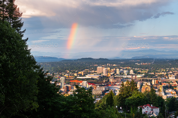 Portland, Oregon, USA downtown cityscape with a Rainbow - Stock Photo - Images