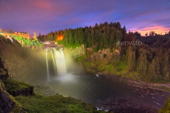 Snoqualmie, Washington, USA at Snoqualmie Falls - Stock Photo - Images