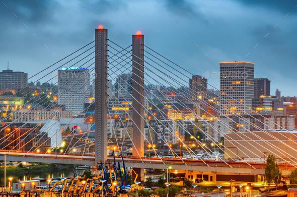 Tacoma, Washington, USA cityscape with East 21st Street Bridge - Stock Photo - Images