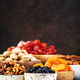 Nuts and dried fruits. Healthy snacks. Dried apricots, figs, raisins, pecans, walnuts - PhotoDune Item for Sale