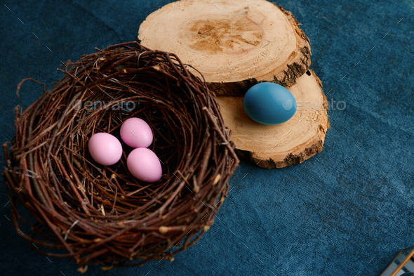 Willow branch, easter eggs in nest and tableware - Stock Photo - Images