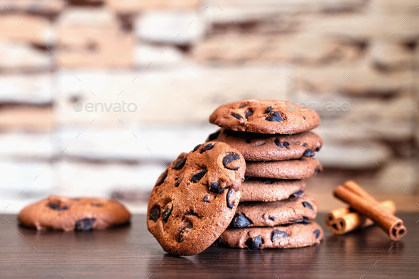Oatmeal cookies with chocolate and cinnamon - Stock Photo - Images
