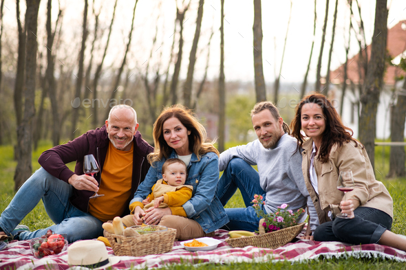 Happy multigeneration family outdoors having picnic in nature - Stock Photo - Images