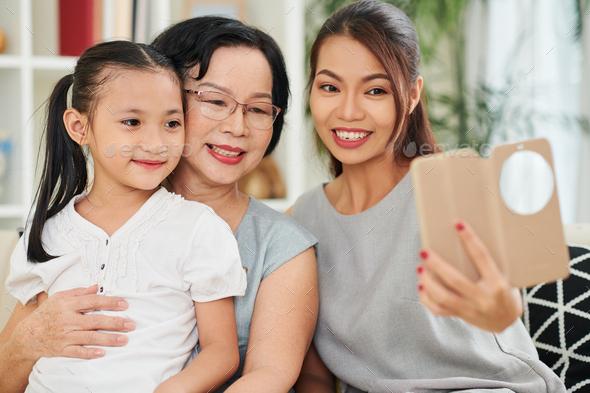 Family Taking Selfie - Stock Photo - Images