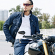 Handsome man sitting on motorcycle - PhotoDune Item for Sale