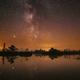 Swamp Bog Marsh Wetland Lake Nature Night Landscape. Night Starry Sky Milky Way Galaxy With Glowing - PhotoDune Item for Sale
