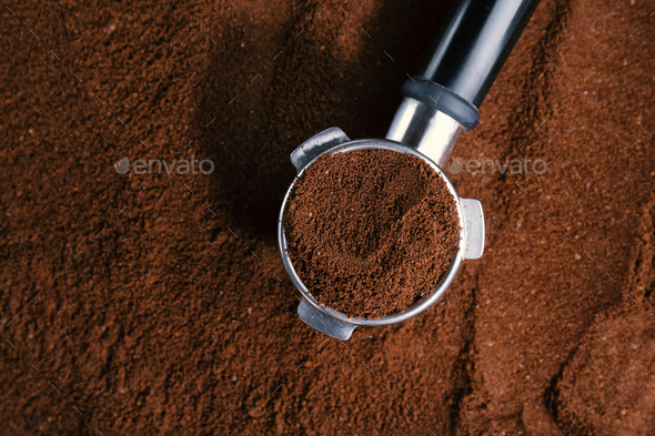 Coffee background with ground coffee - Stock Photo - Images