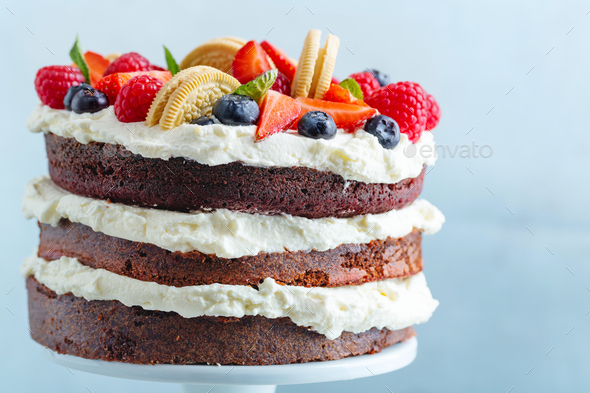 Fruity cake with cream on stander - Stock Photo - Images