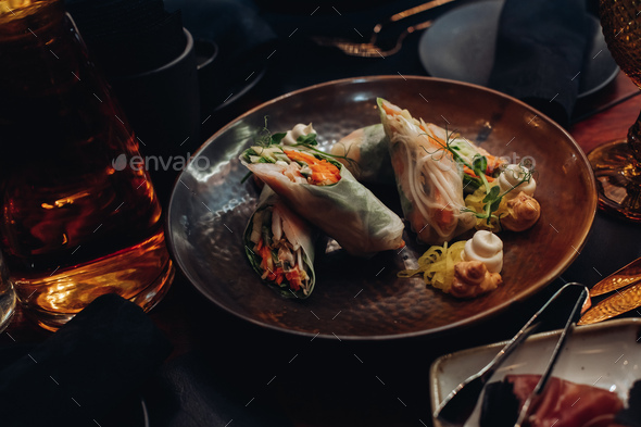 Healthy vegetable rolls on plate - Stock Photo - Images