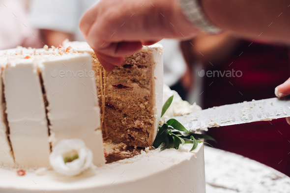 a piece of a yummy cake on a plate - Stock Photo - Images