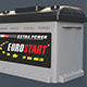 Accumulator battery for car. Acid battery 12 volts supply.