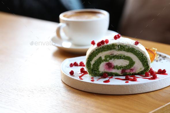 Pistachio Roll Dessert - Stock Photo - Images
