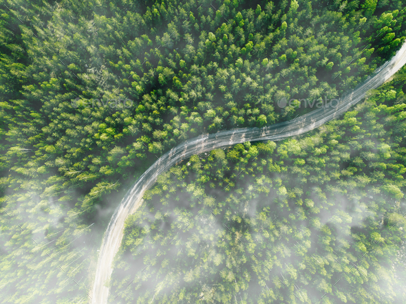 Aerial view of curved country road with green summer fog forest - Stock Photo - Images