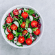 Green salad bowl with tomatoes, cucumbers, red onions, radicchio and fresh lettuce. - PhotoDune Item for Sale