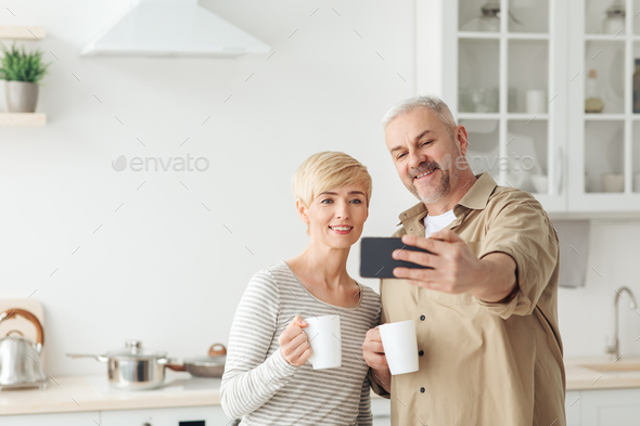 Self-isolation, video call, morning coffee. selfie at home and online meeting - Stock Photo - Images