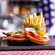 Sandwich with fried egg and french fries breakfast - PhotoDune Item for Sale