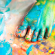 Child with feet painted having fun with art - PhotoDune Item for Sale