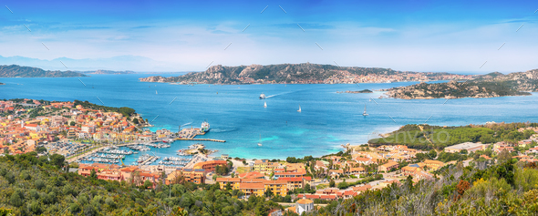 Breathtaking view on Palau port and Santo Stefano with La Maddalena islands - Stock Photo - Images