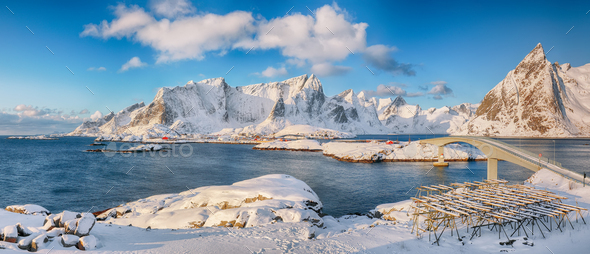 Panoramic winter view on  Reine and Sakrisoya villages  and bridge to Olenilsoya island. - Stock Photo - Images