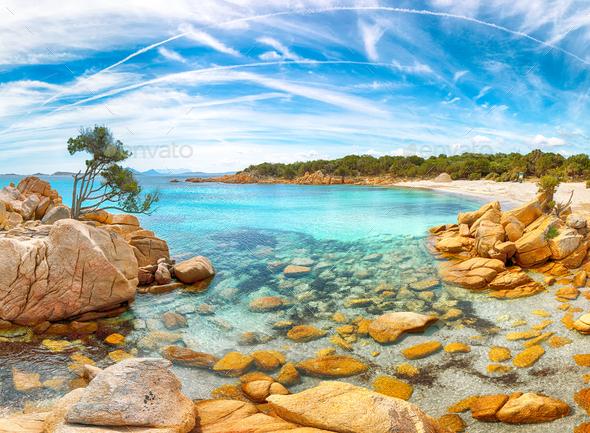 Astonishing view of Capriccioli beach in Costa Smeralda. - Stock Photo - Images
