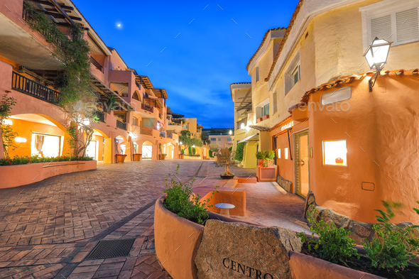 Fantastic view of Porto Cervo town illuminated at night. - Stock Photo - Images