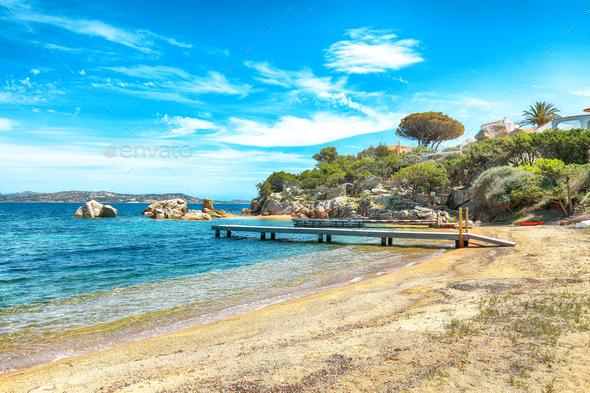 Captivating  view of  beach on Porto Rafael resort. Picturesque seascape of Mediterranean sea. - Stock Photo - Images