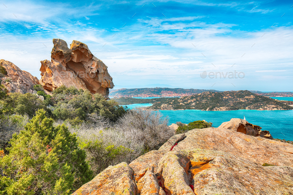 Breathtaking view on Palau  from popular travel destination Bear Rock (Roccia dell'Orso). - Stock Photo - Images
