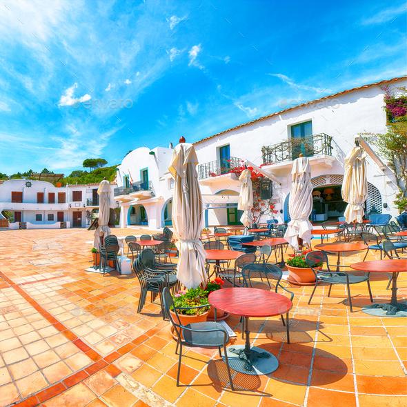 Splendid view of  Porto Rafael resort from beach bar. - Stock Photo - Images