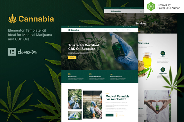 Cannabia – Medical Marijuana & CBD Oil Elementor Template Kit