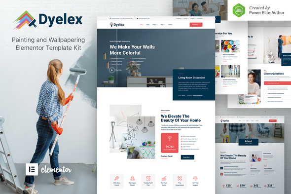 Dyelex – Painting & Wallpapering Service Elementor Template Kit