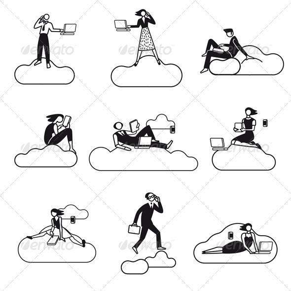 Cloud Computing Silhouettes BN - Technology Conceptual