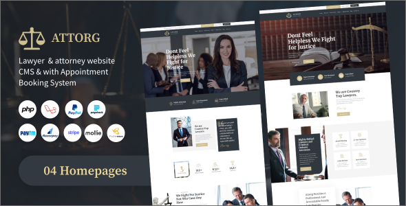 Download Attorg – lawyer & attorney website cms with Appointment Booking System PHP Scripts Free Nulled